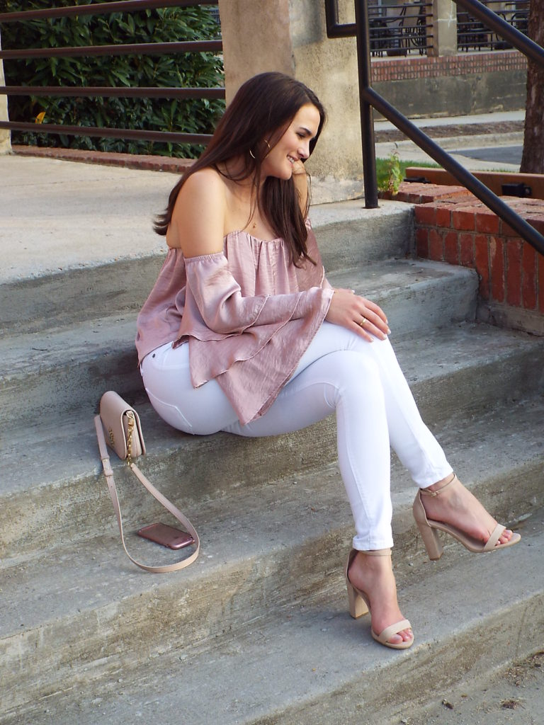 "f1975e37ddabb Spring Date Night Outfit  Blush Ruffle Off the Shoulder Top. Singing  ""Ooooo"