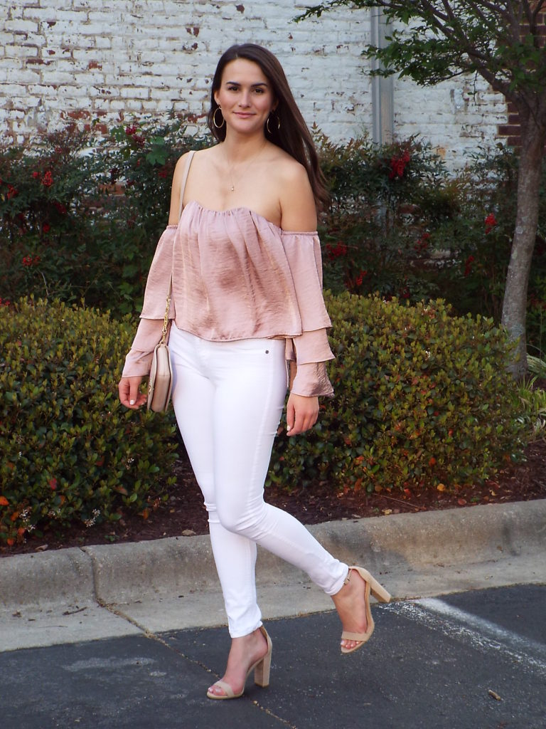 f1bd77295453c Spring Date Night  Blush Ruffle Off the Shoulder Top