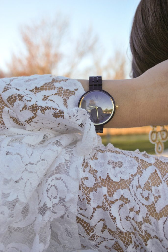 White lace top, Jord Watches